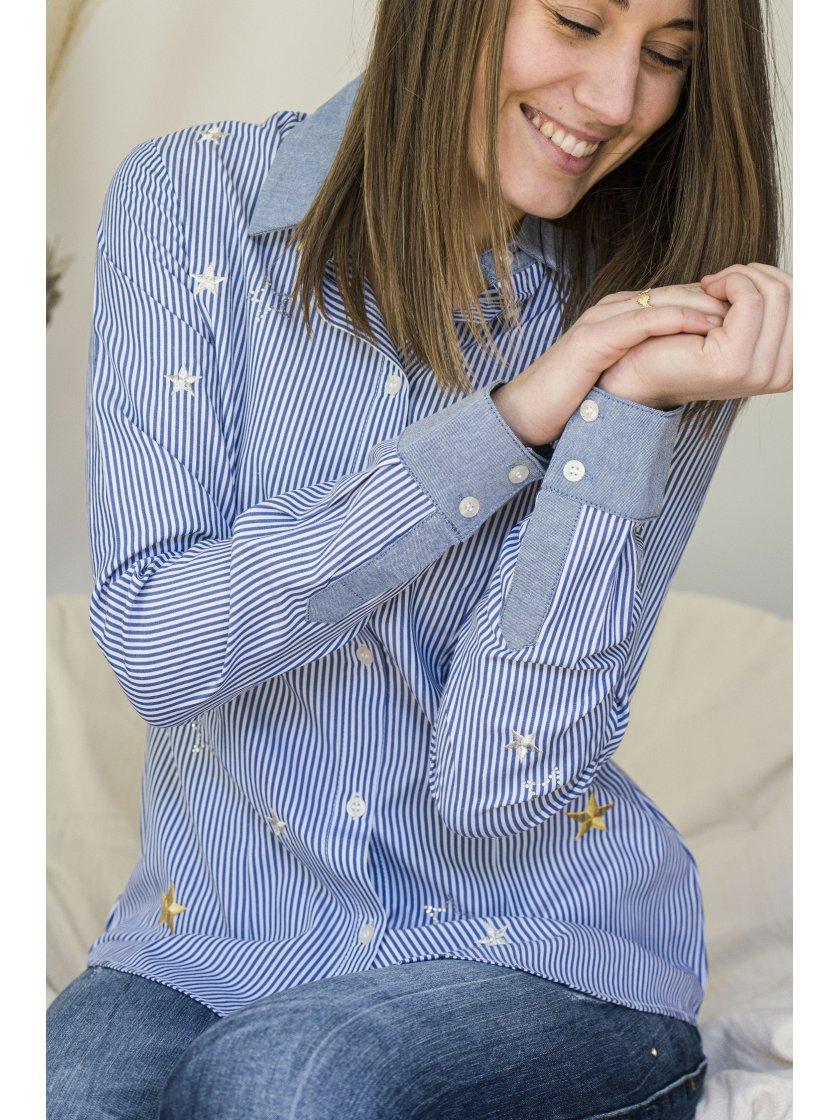 Chemise pivoine bleue à rayures Liu Jo Femme