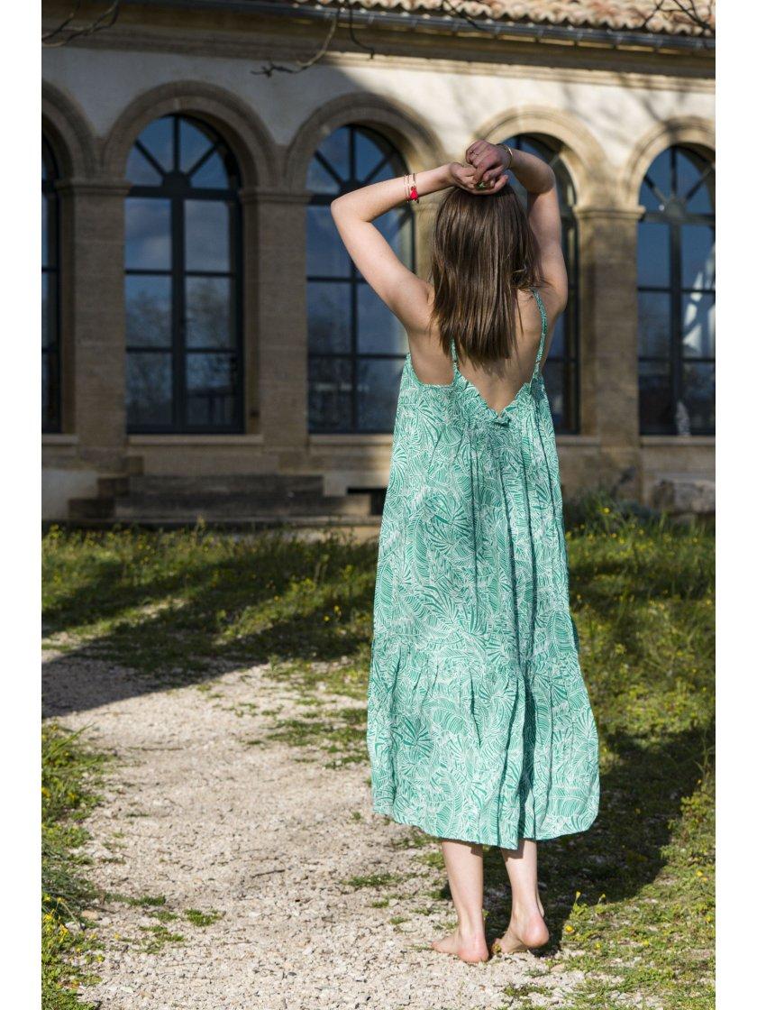 Robe Cardi verte imprimé tropical Suncoo Paris Femme