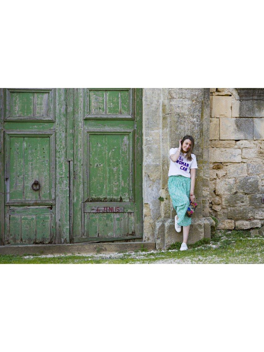 Jupe midi Farrah verte imprimé tropical Suncoo Paris Femme