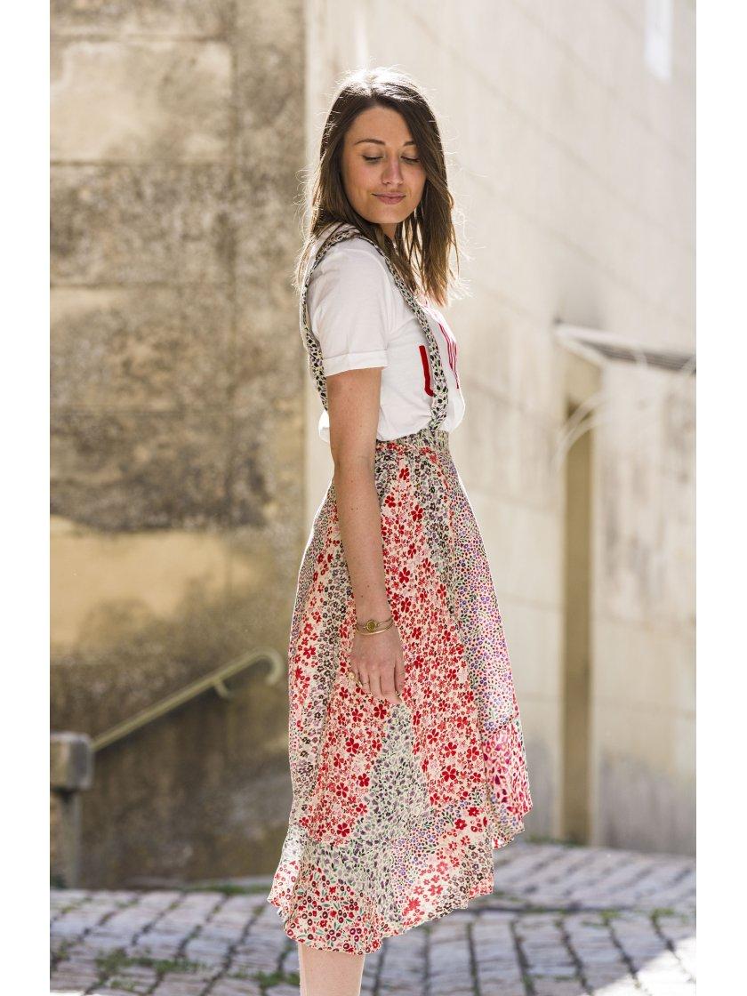 Jupe bretelle Fanny imprimé fleurs Suncoo Paris Femme