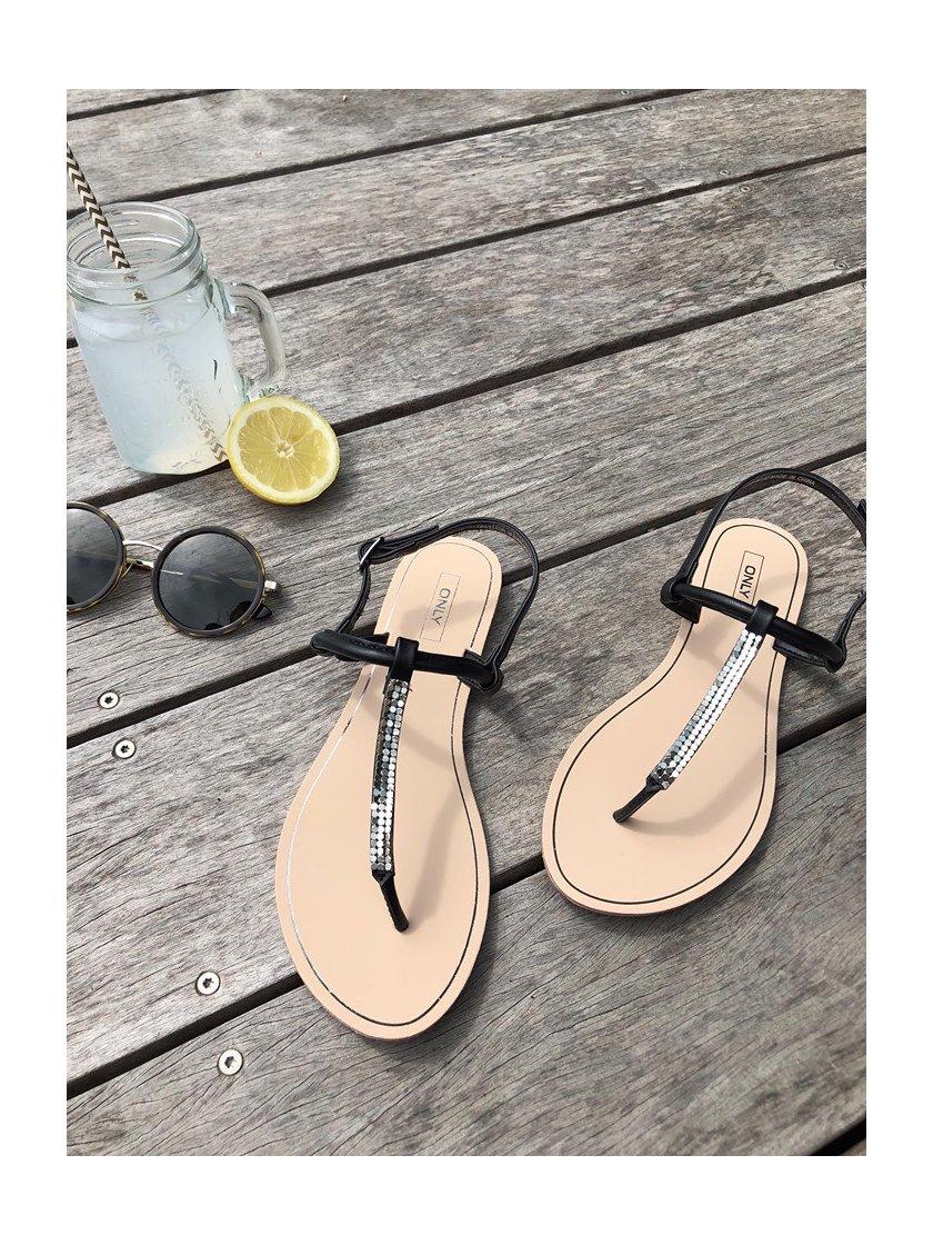 Sandales à paillettes noires Margit Only Femme
