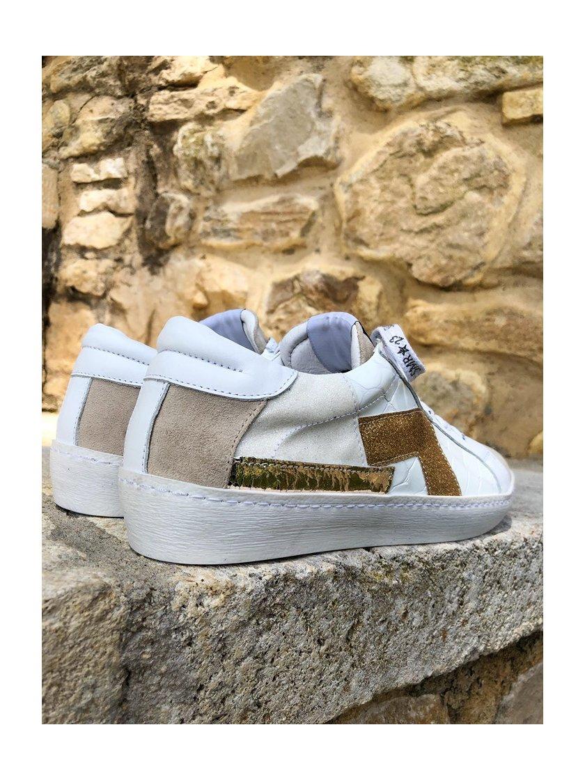 Baskets Sara blanches/beiges Semerdjian Femme