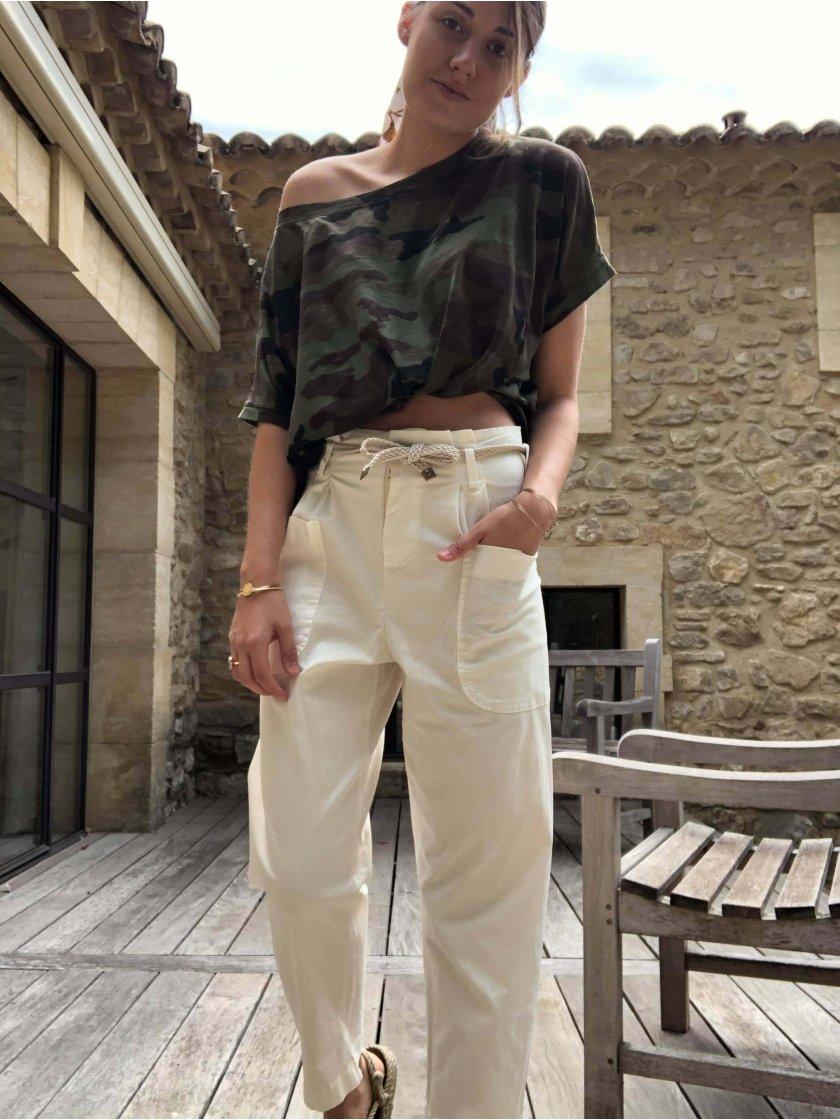 Pantalon Chloé 7/8 ème écru Femme