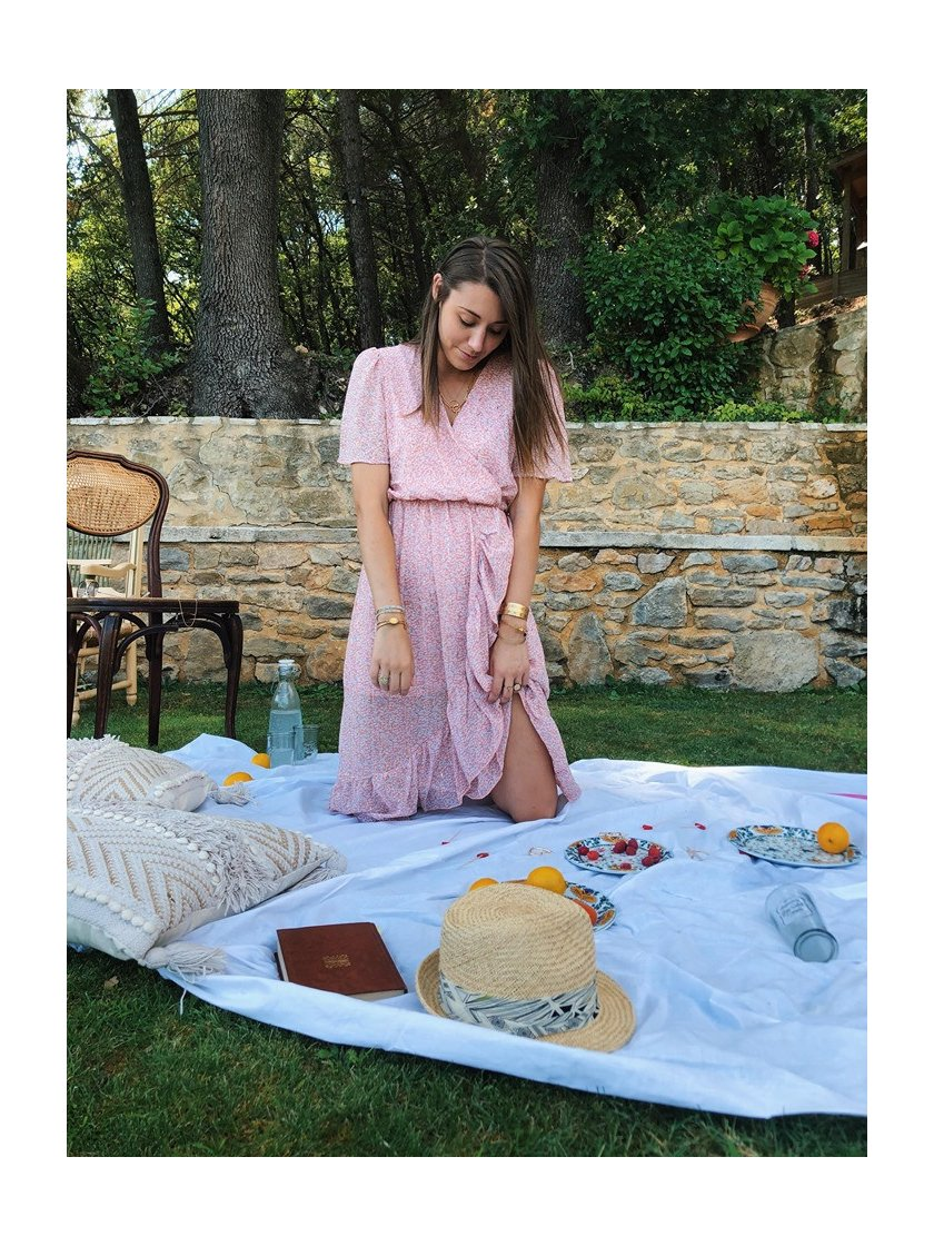 Robe Longue Portefeuille Fleurie Rose Femme