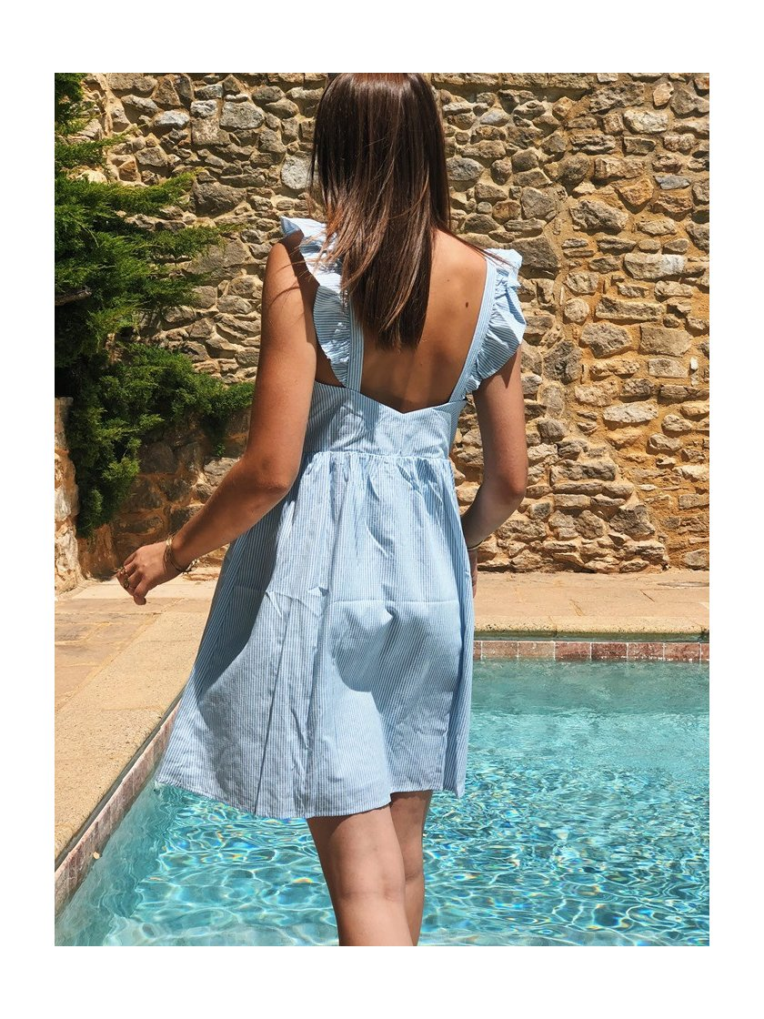 Robe Eva Bleue à Rayures Femme
