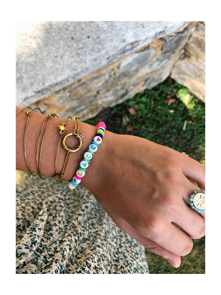 Bracelet Surfeur Peace Rose Fluo