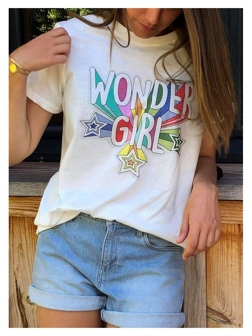 Tee shirt Ecru Wonder Girl Jubylee Femme
