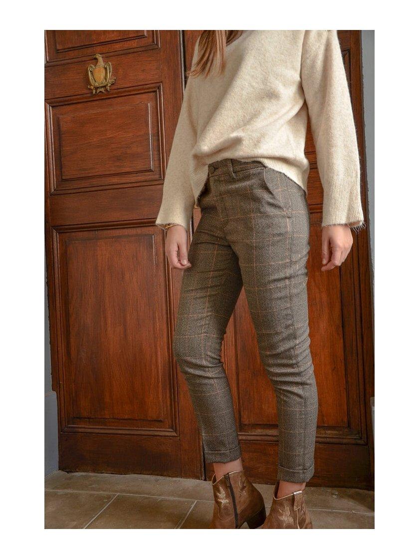 Pantalon Marron à carreaux New York Luxury Liu Jo Femme