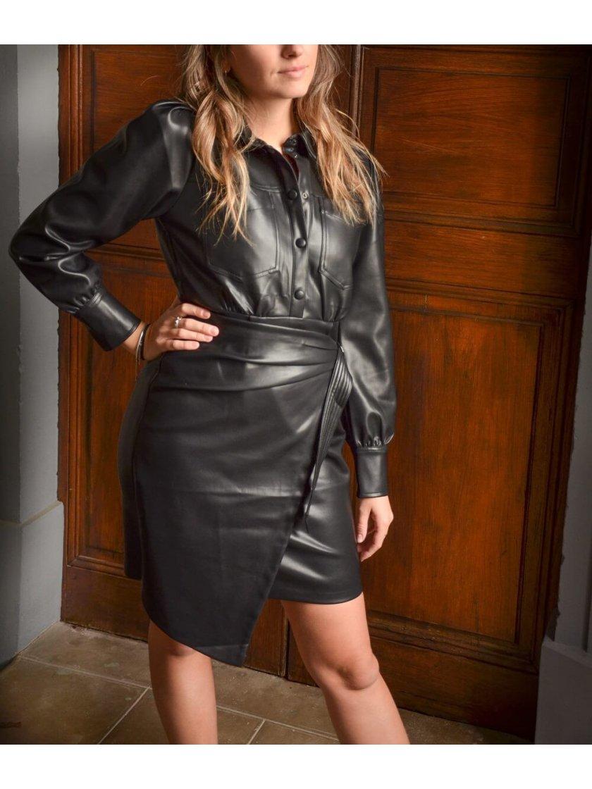 Robe en simili cuir Noire Cilem Suncoo Paris Femme