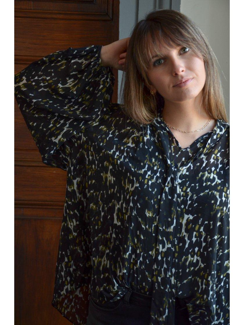 Blouse Noire Imprimé Molly Bracken Femme
