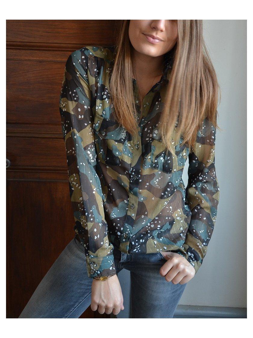 Chemise Voilage Imprimé Camouflage Eirene Guess Femme