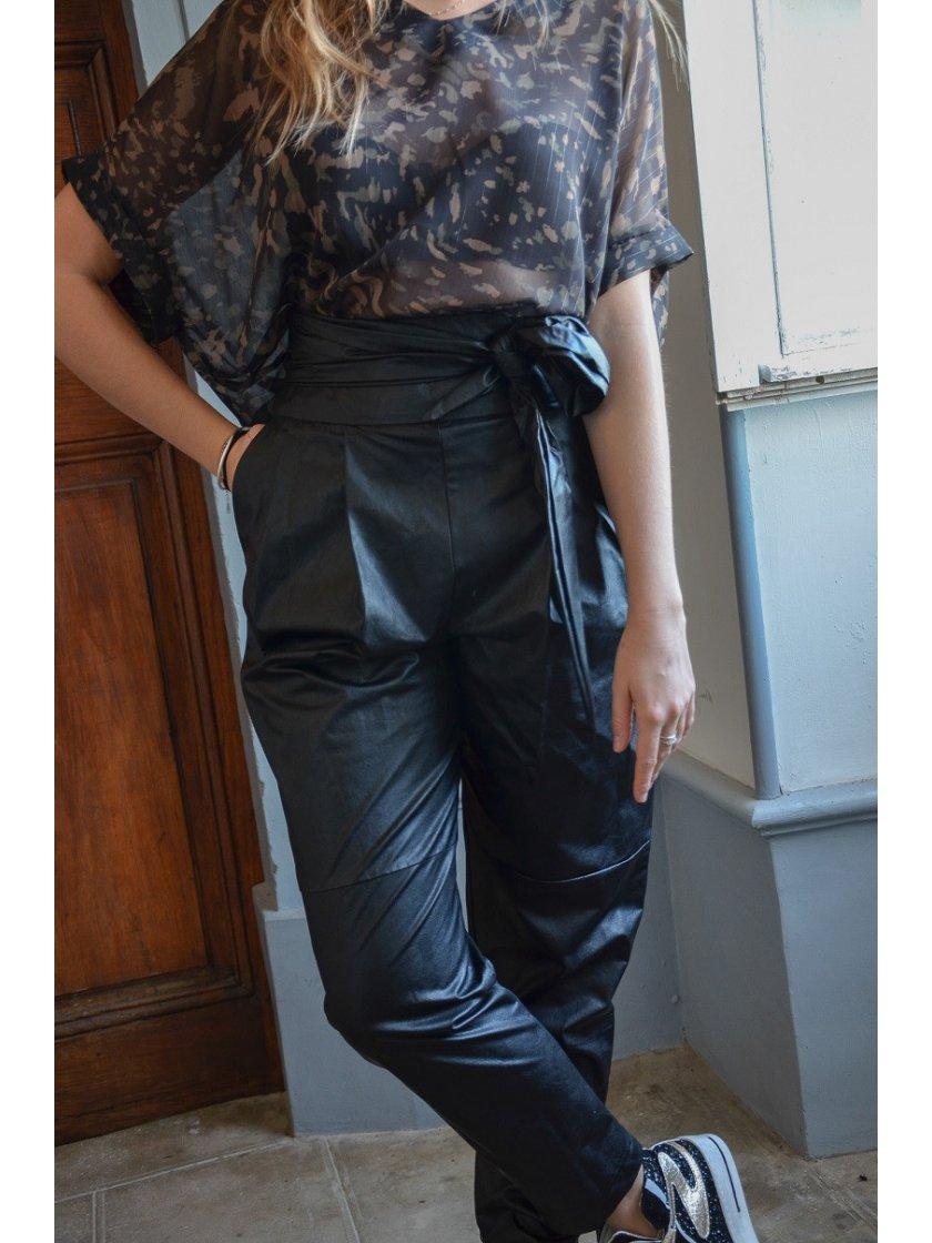 Pantalon Paperbag Similicuir Impérial Femme