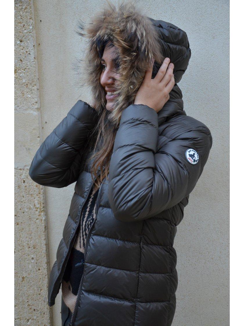 Doudoune Capuche Marron Glacé Luxe Jott Femme