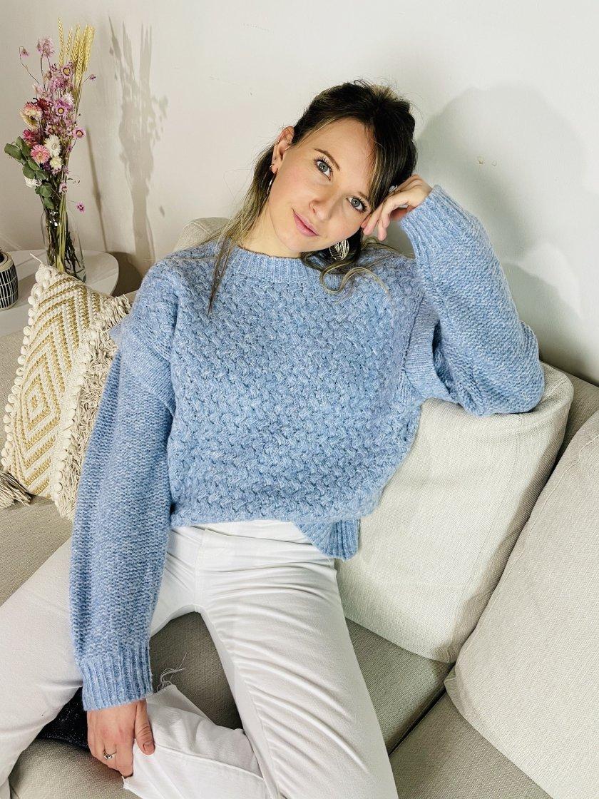Pull avec épaulettes Denise Bleu Femme
