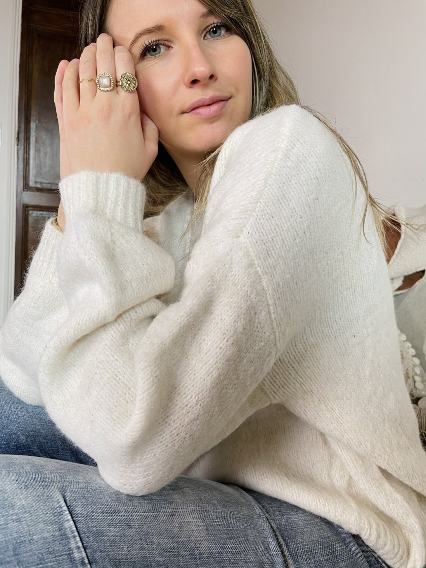 Pull Cocon Beige Femme