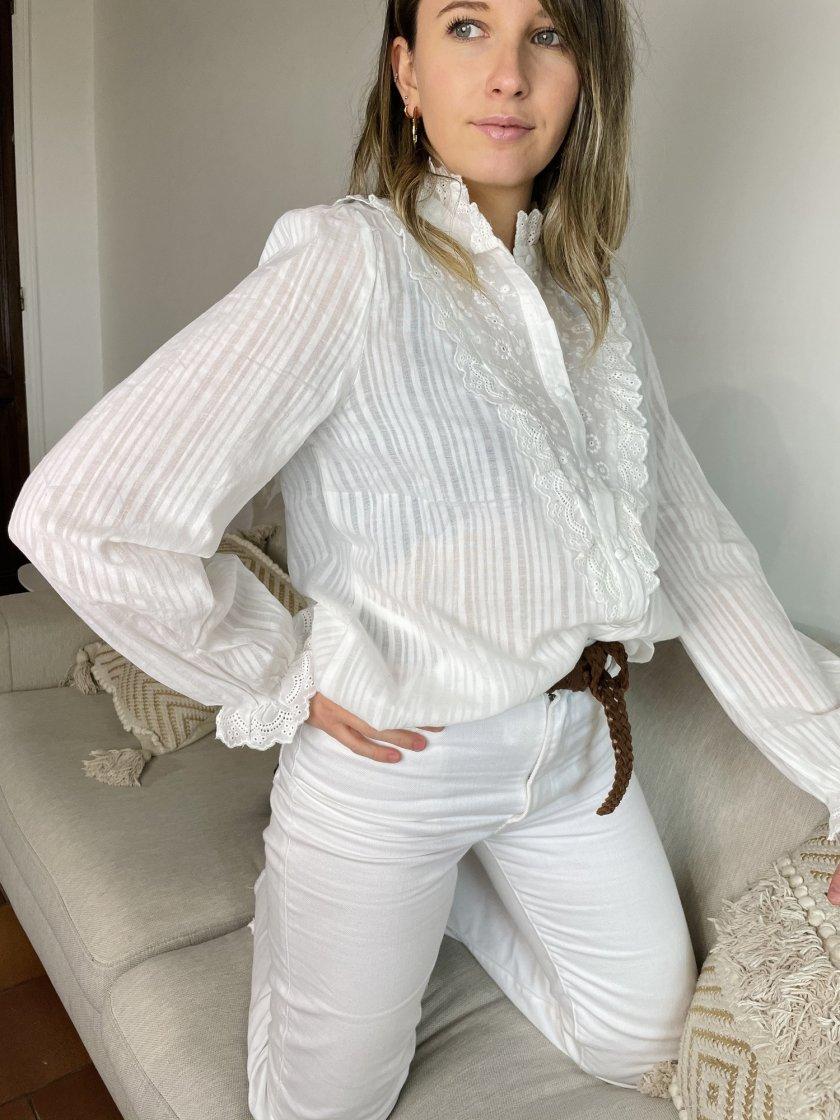 Chemise Broderie Stella Blanche Femme