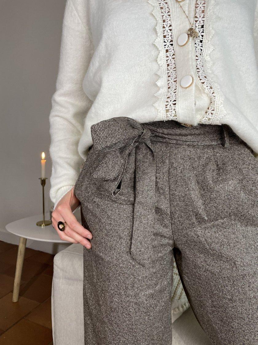 Pantalon Imprimé Pied De Poule Noé Marron Femme