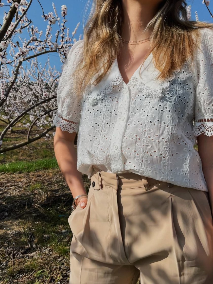 Blouse Broderies Lucie Blanc Femme