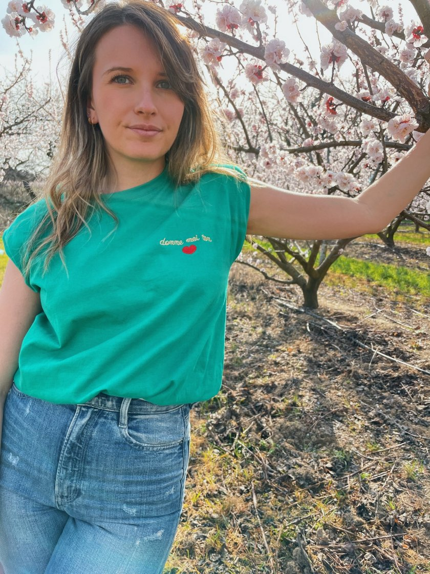 Tee-Shirt Epaulettes Lise Vert Femme