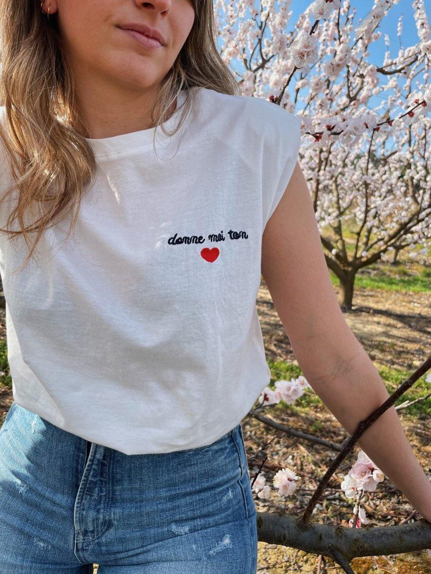 Tee-Shirt Epaulettes Lise Blanc Femme