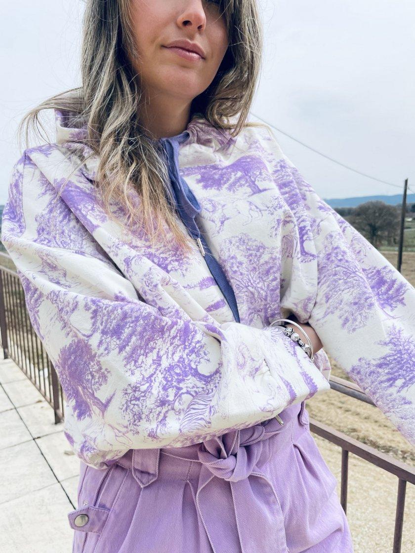 Sweat Molleton Imprimé Didi Violet Femme