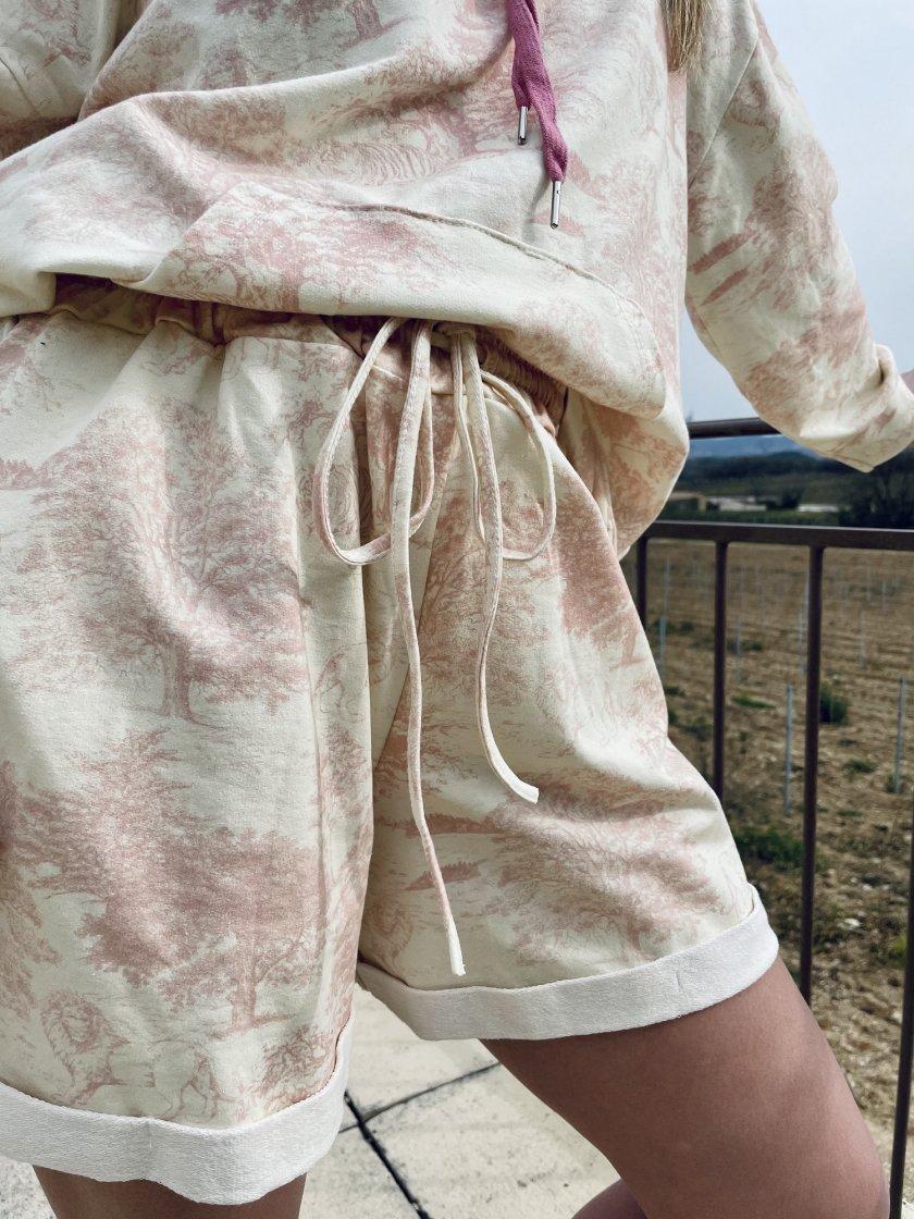 Short Molleton Imprimé Mario Rose Femme
