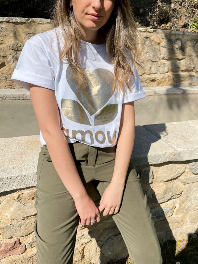 Tee-shirt Boyfriend Blanc Amour Or
