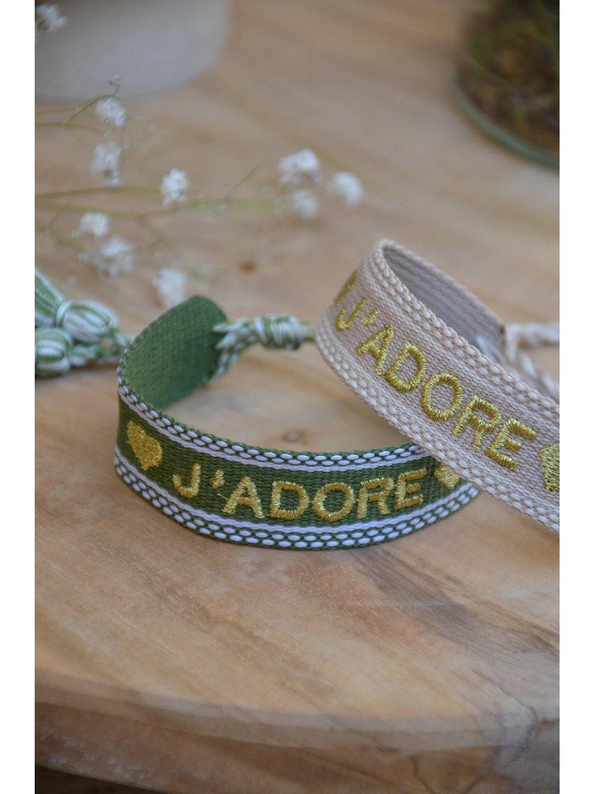 Bracelet Tissé J'adore Kaki