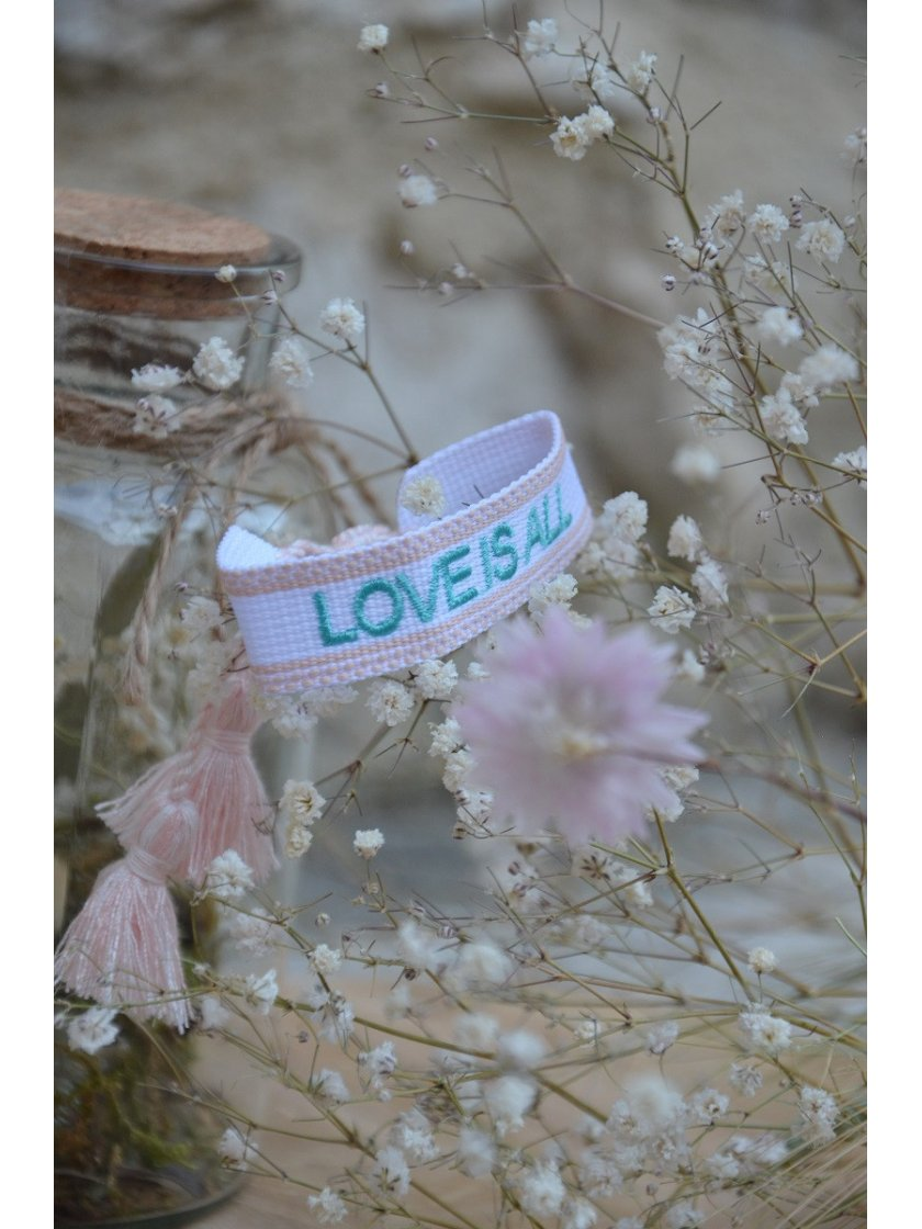 Bracelet Tissé Love Is All Blanc