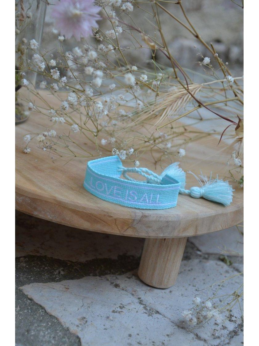 Bracelet Tissé Love Is All Bleu