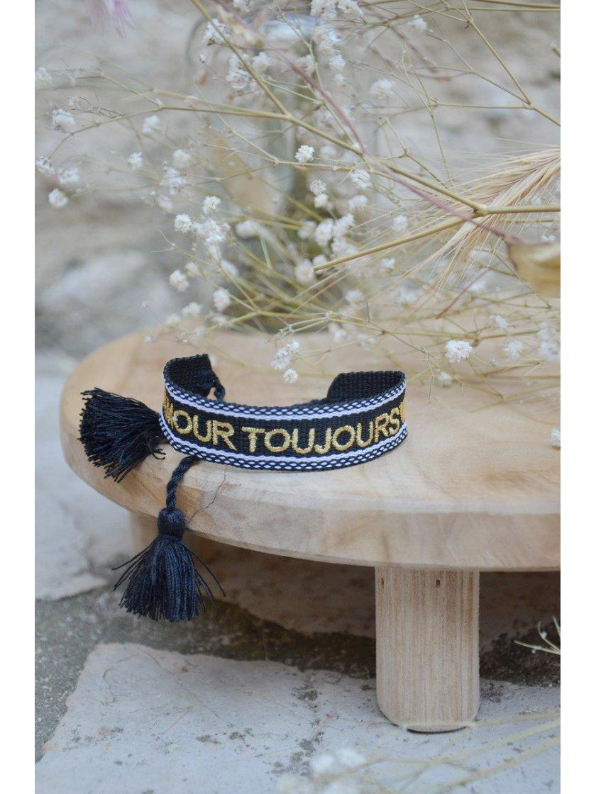 Bracelet Tissé Amour Toujours Noir