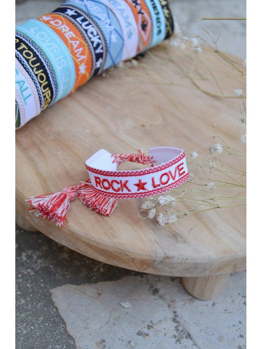 Bracelet Tissé Rock Love Blanc