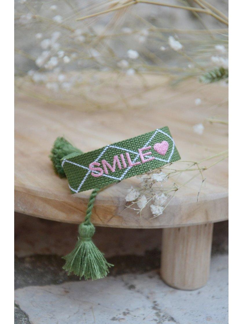 Bracelet Tissé Smile Kaki